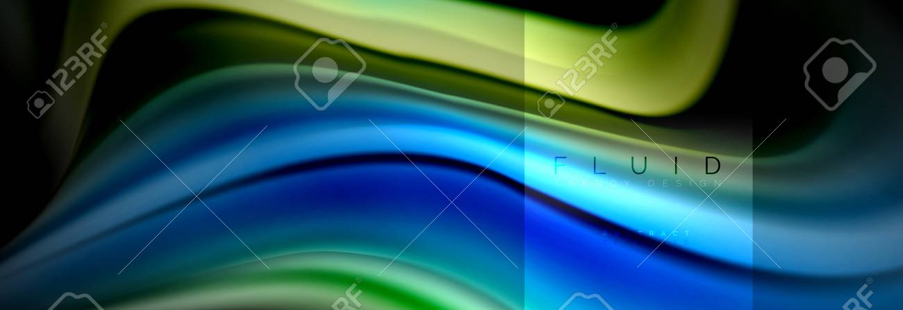 Rainbow Fluid Abstract Shapes Liquid Colors Design Colorful Marble Or Plastic Wavy Texture Background Multicolored Template For Business Or