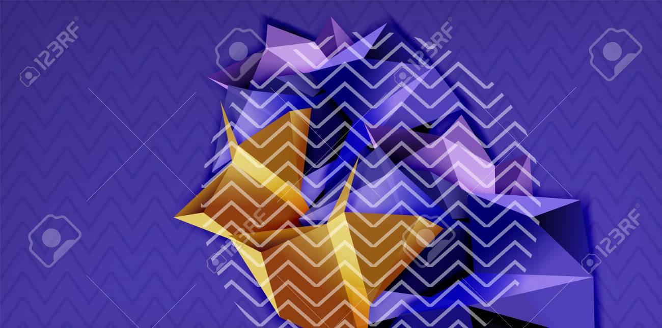 Vector triangular 3d geometric shapes background, modern poster