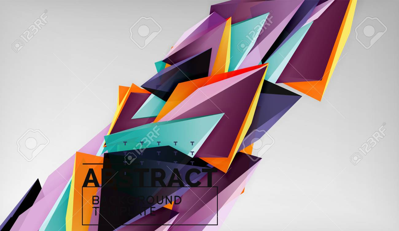3d geometric triangular shapes abstract background, color triangles
