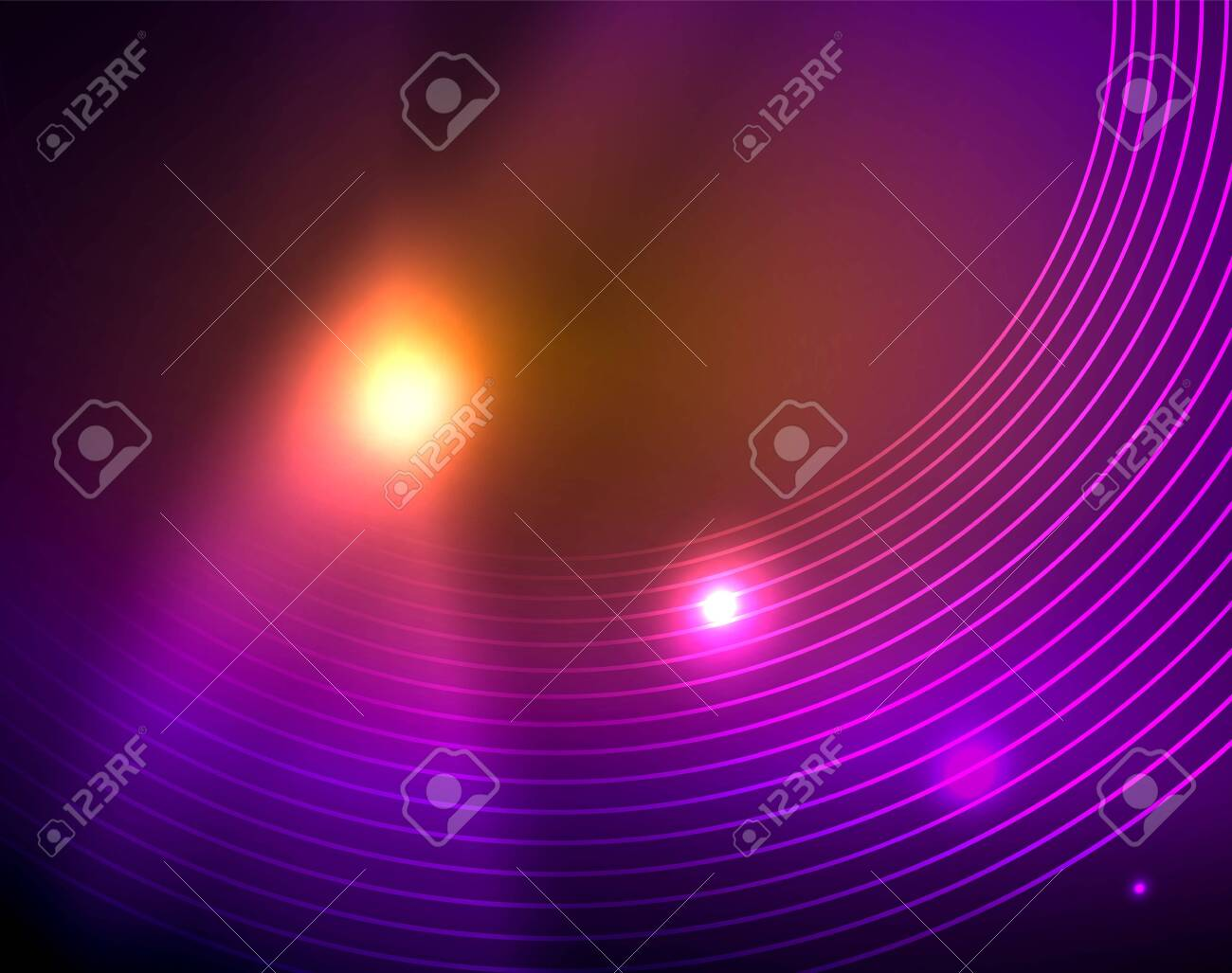 Neon circles abstract background, vector template - 126672274