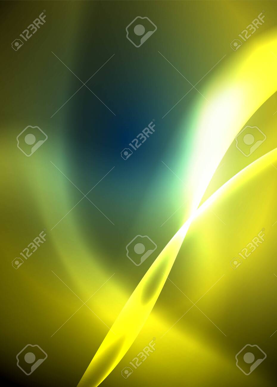Shiny color bright neon abstract wave template. Abstract bright light. Neon light glowing effect. Space background. Abstract shape. Shining space. - 135258227