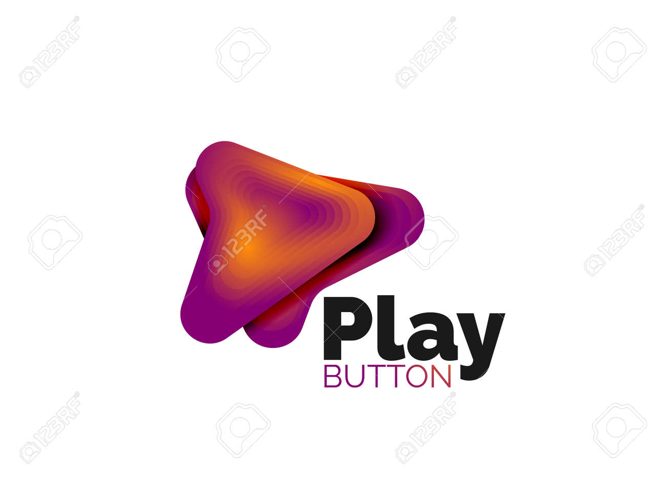 Arrow template. Or play or download button template. Minimal geometrical design, 3d geometric bold symbol in relief style with color blend steps effect. Vector Illustration - 136685130