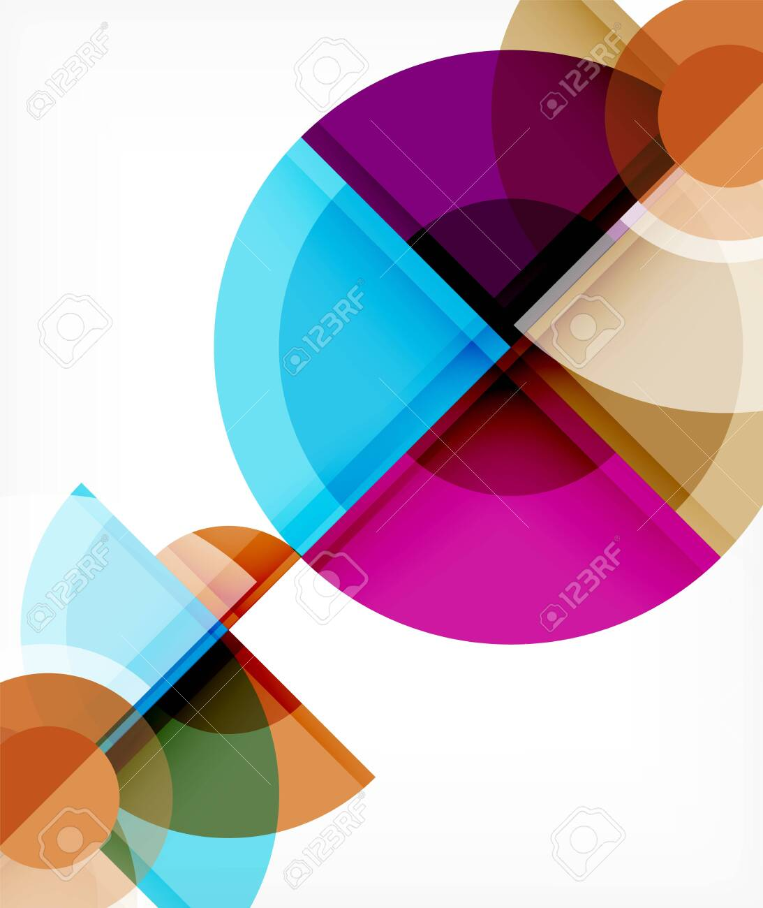 Abstract background, circle and triangle design round shapes overlapping each other. Geometric trendy template. Vector Illustration For Wallpaper, Banner, Background, Card, Book Illustration, landing page - 143490573