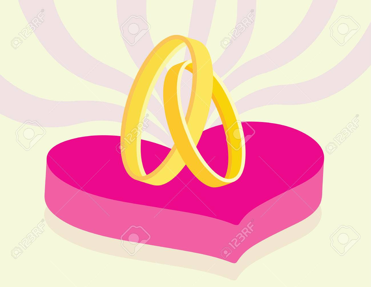 Wedding Concept With Two Overlap Rings On Heart Symbol Royalty Free ...