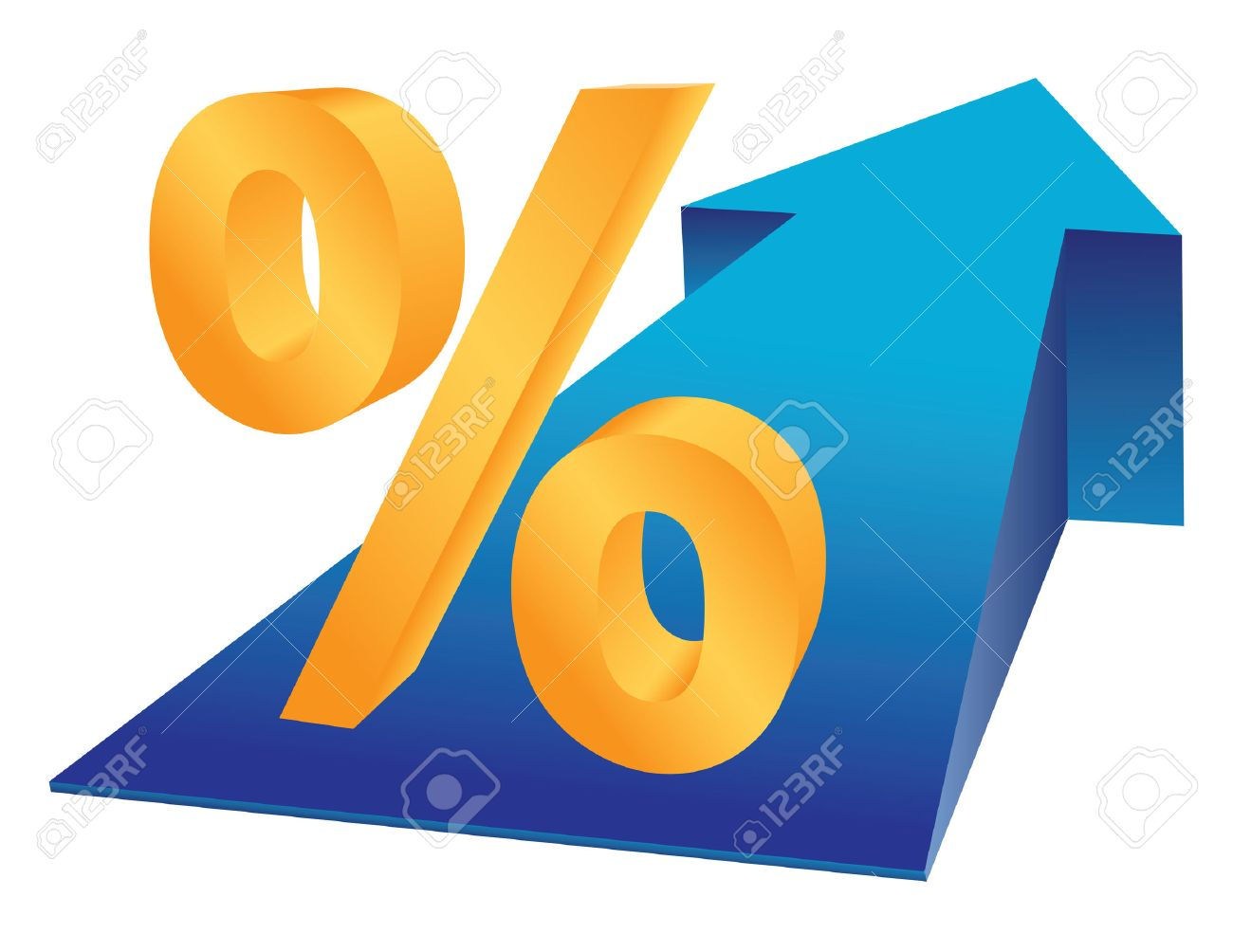 Percent sign and growing arrow as finance prosperity concept. Stock Vector - 8953543