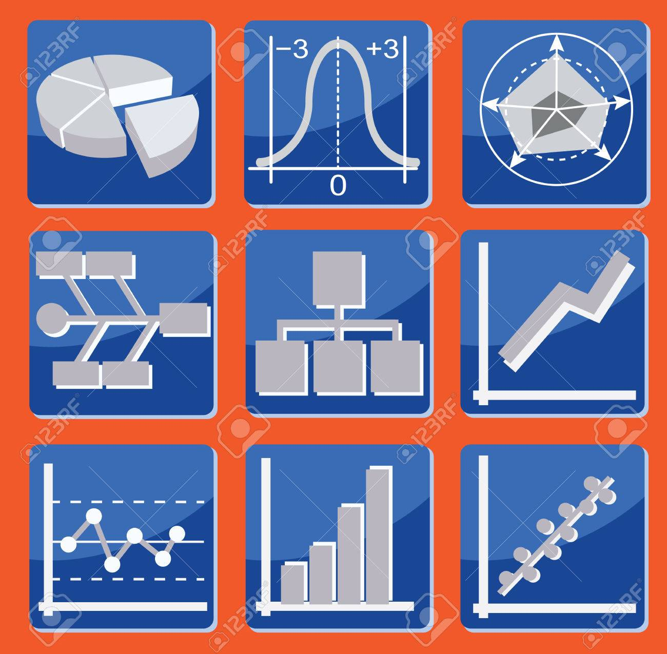 Set Of Icons With Different Types Of Charts And Graphs Royalty ...