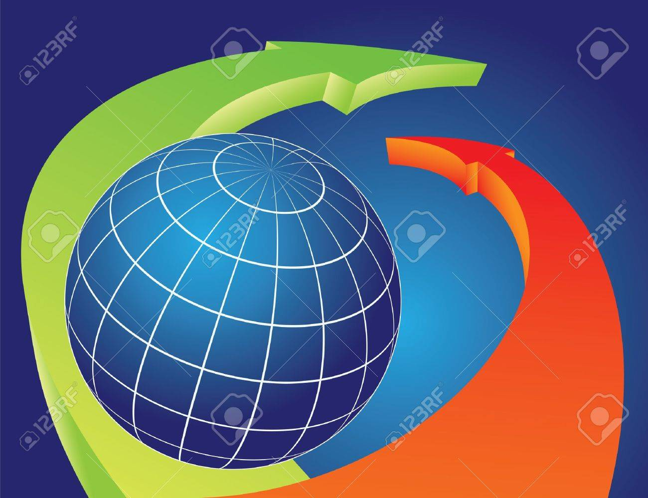 Earth globe Overlapped by bending arrows. Travel concept  illustration. Stock Vector - 9442093