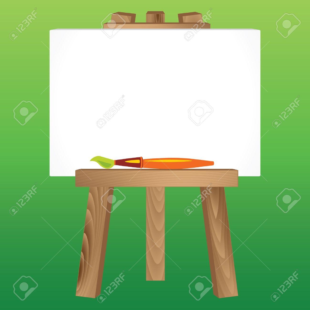 白いキャンバスとブラシの木製の絵画三脚 ロイヤリティフリークリップ