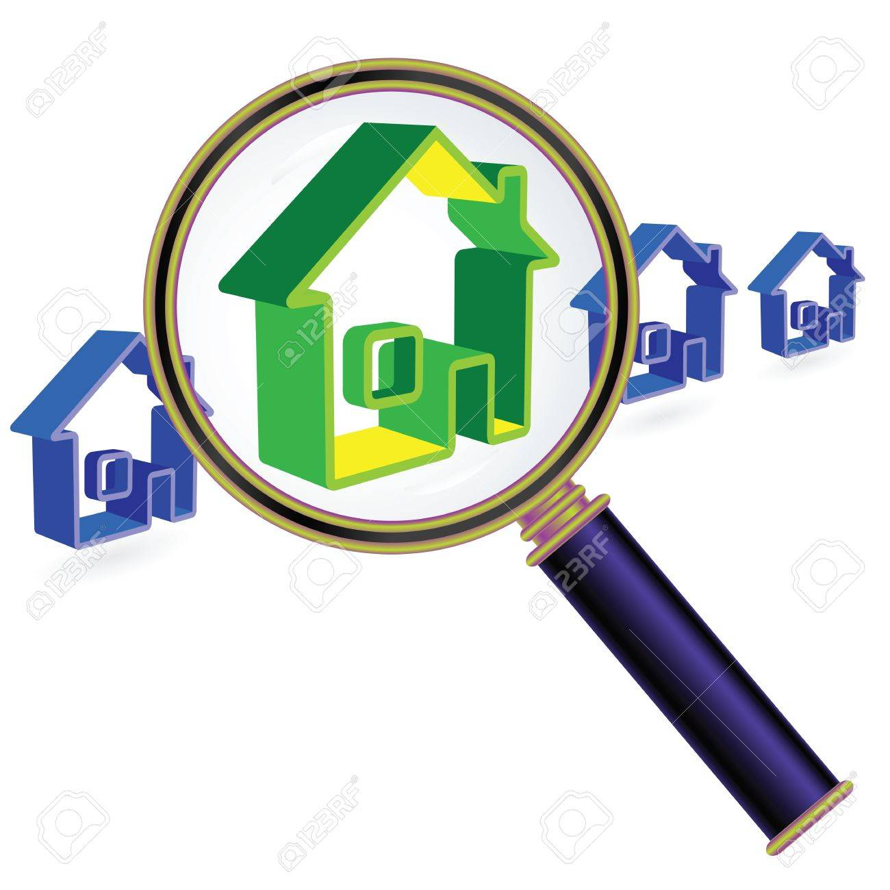 House sign under magnifier glass. Real Estate Concept. Stock Vector - 10822416