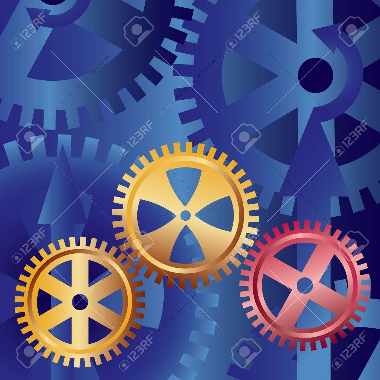 golden gears on blue background Stock Vector - 11094226
