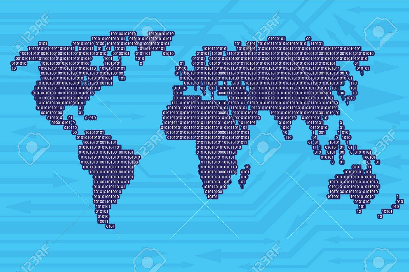 Digital world map from binary code and arrows background as modern digital world map from binary code and arrows background as modern information exchange concept stock gumiabroncs Gallery