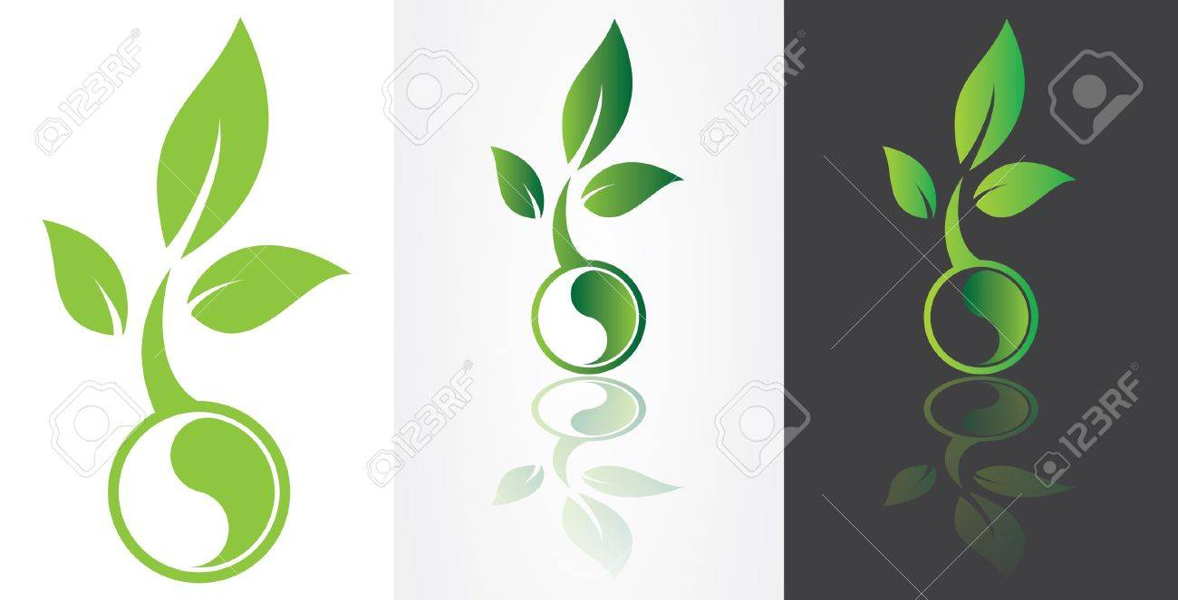 ying yang harmony symbolism with green leaf. Stock Vector - 18060336