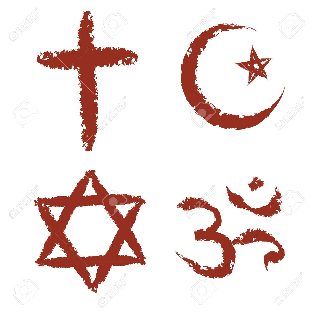 Christian islam judaism and hinduism religions painted signs christian islam judaism and hinduism religions painted signs vector set stock vector 23290375 buycottarizona Image collections