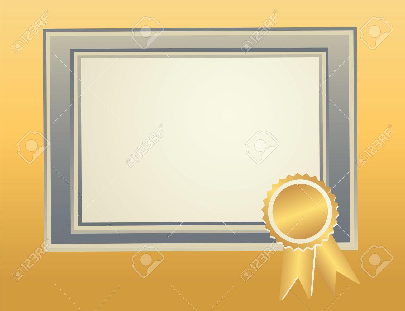 Blank Rahmen-Vorlage Mit Award Siegel Für Zertifikat, Diplom ...
