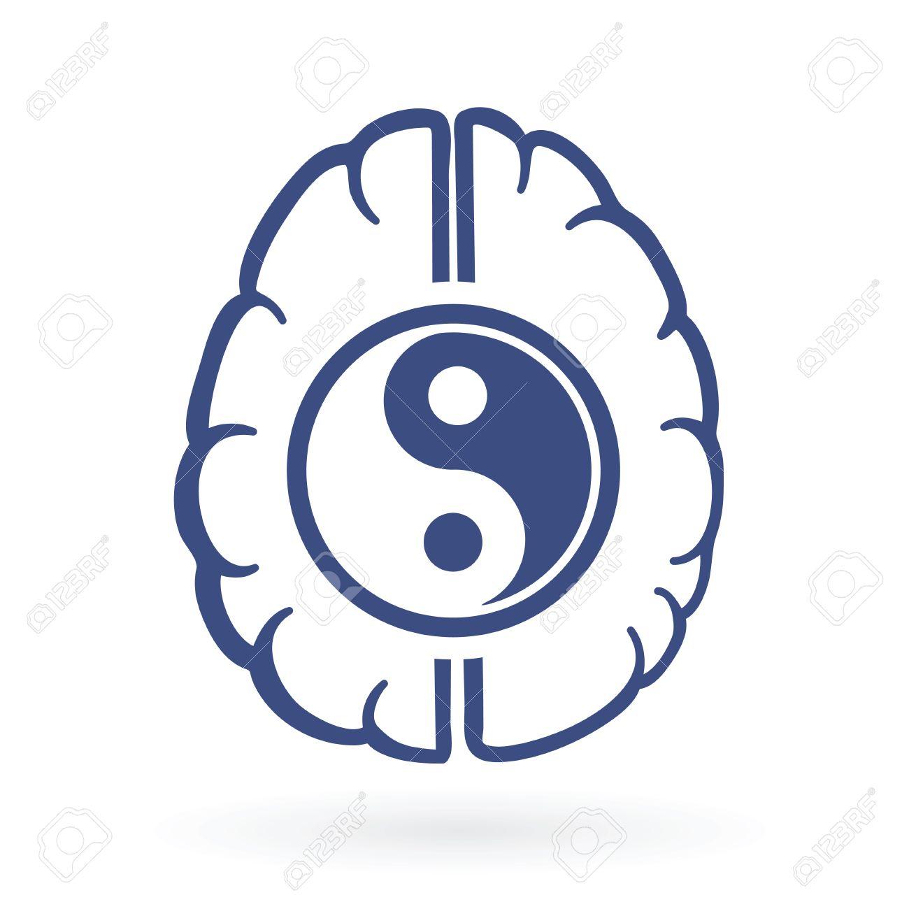 Ying yang and human brain symbols as positive energy life balance ying yang and human brain symbols as positive energy life balance concept vector illustration biocorpaavc Images