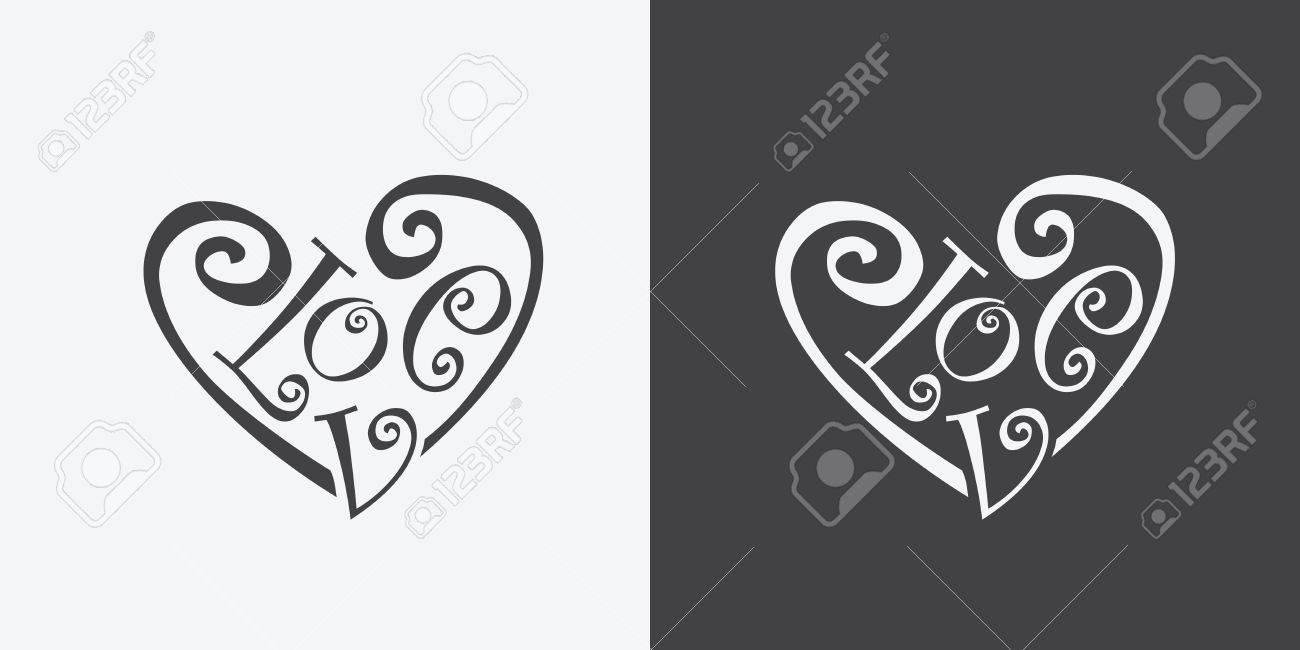 Calligraphic word love meaning of heart symbol illustration calligraphic word love meaning of heart symbol illustration grayscale color stock vector 57993242 buycottarizona