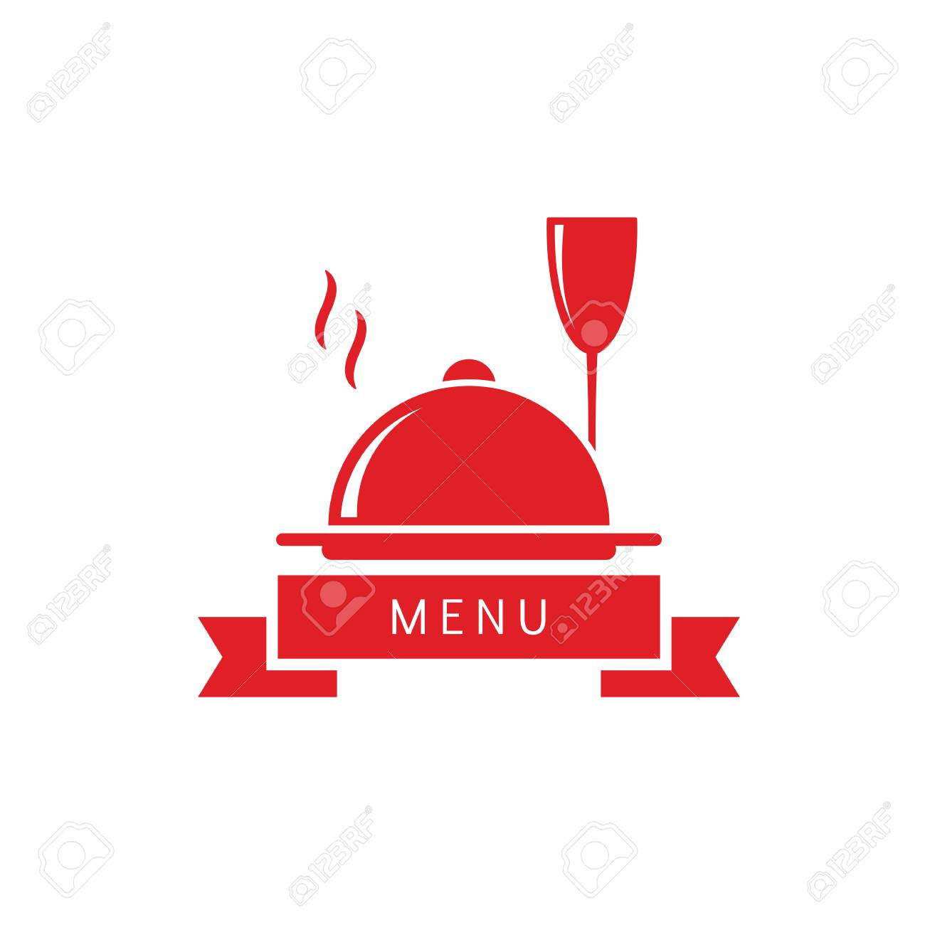 wine glass with dish restaurant menu logo abstract vector