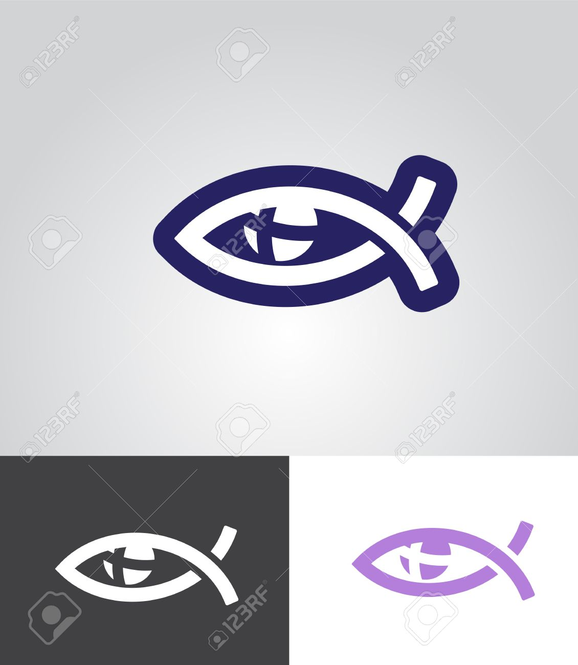 Christian Fish As Eye Symbol With Cross In Eyeball As Christian
