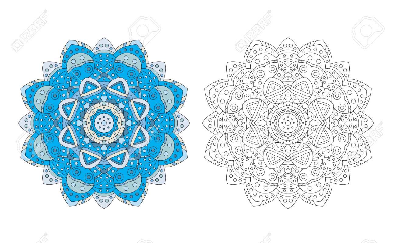 Mandala Zentangle Coloring Page Antistress Adult Drawing Absract