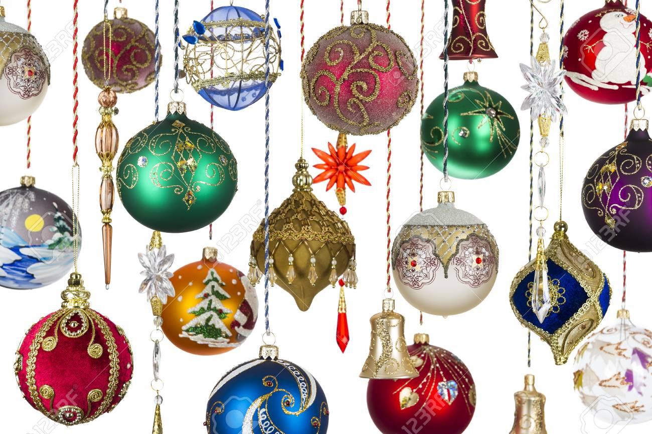 Christmas Tree Toys Decoration.Christmas Tree Toys Xmas Balls Bells Icicles Hanging On Ropes