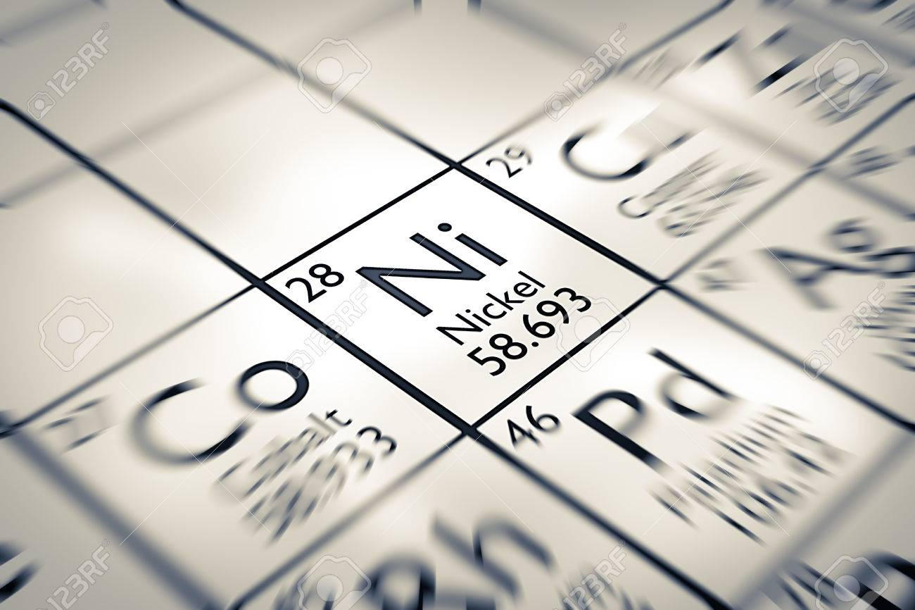 focus on nickel chemical element from the mendeleev periodic table stock photo 61258961 - Mendeleev Periodic Table Atomic Number