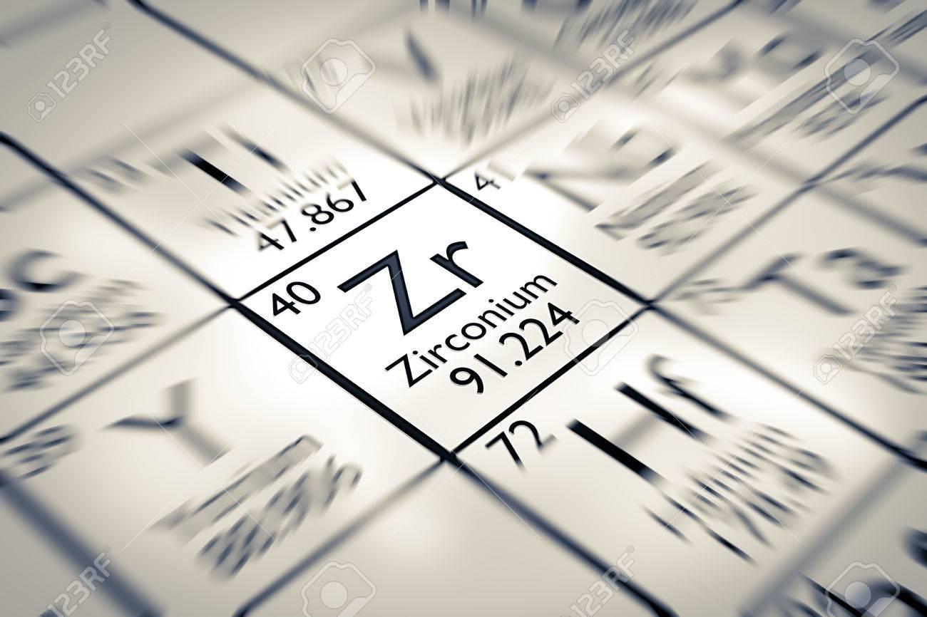 Centrarse en elementos qumicos de zirconio de la tabla peridica de centrarse en elementos qumicos de zirconio de la tabla peridica de mendeleiev foto de archivo urtaz Images