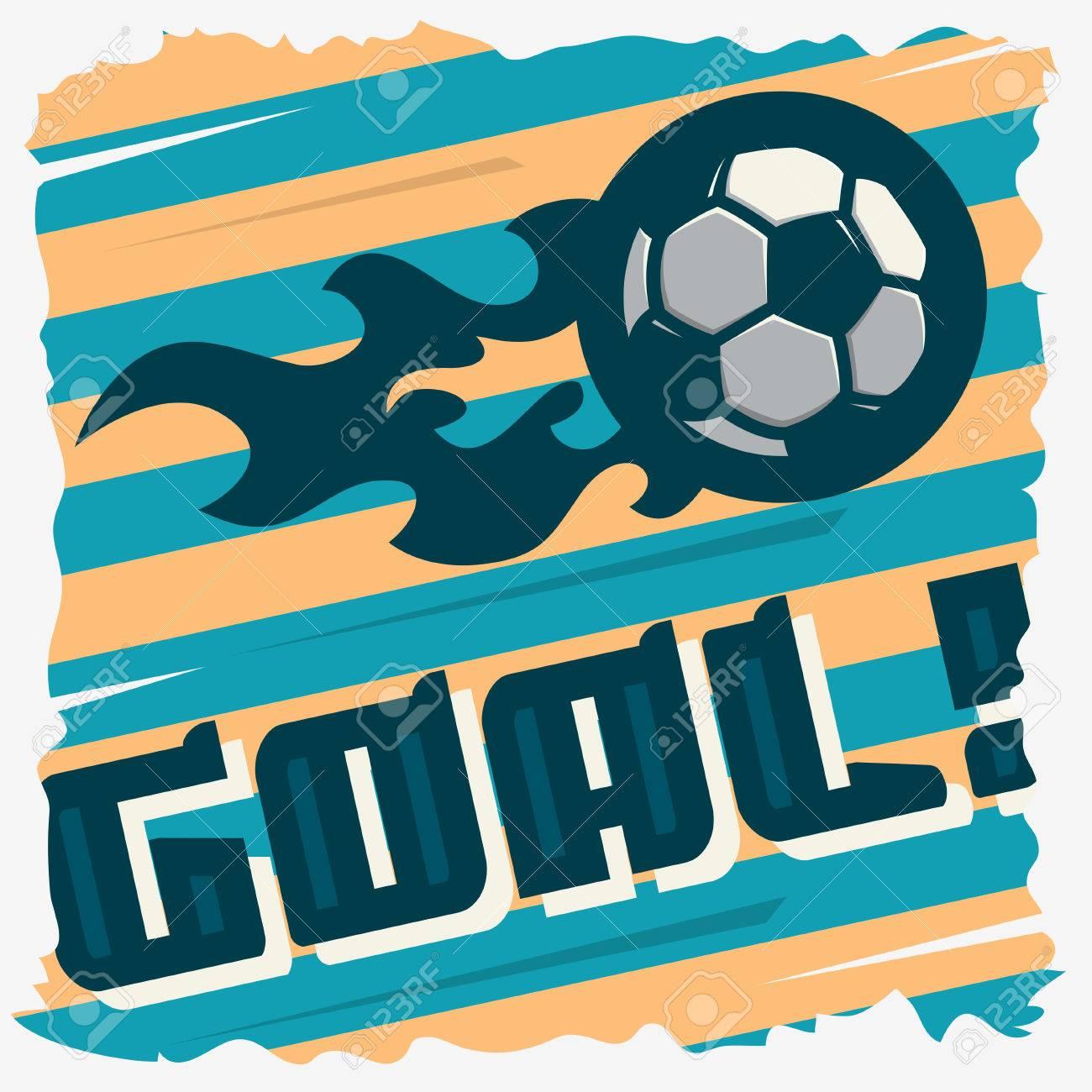 football goal the ball on a fire soccer print design football