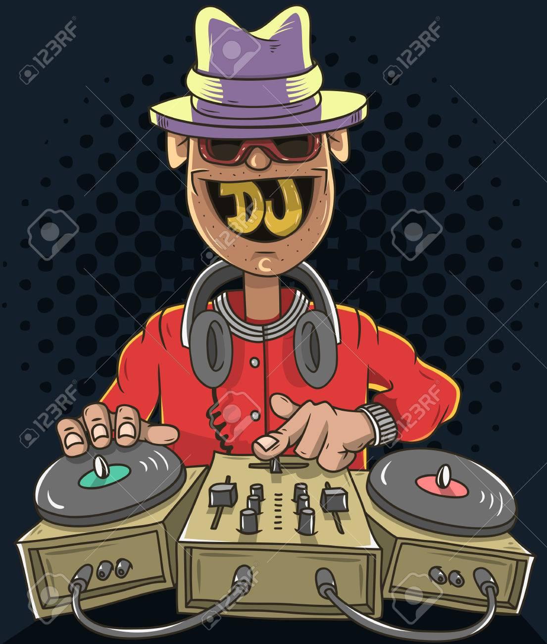 夜クラブ Dj サウンド ミキサーと笑みを浮かべて蓄音機で音楽を再生し ...