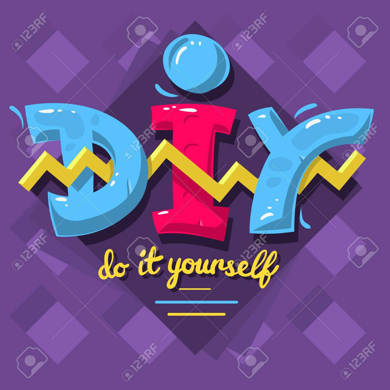 Diy acronym do it yourself 90 s vibrant colors aesthetic typ diy acronym do it yourself 90 s vibrant colors aesthetic typ stock vector solutioingenieria Images