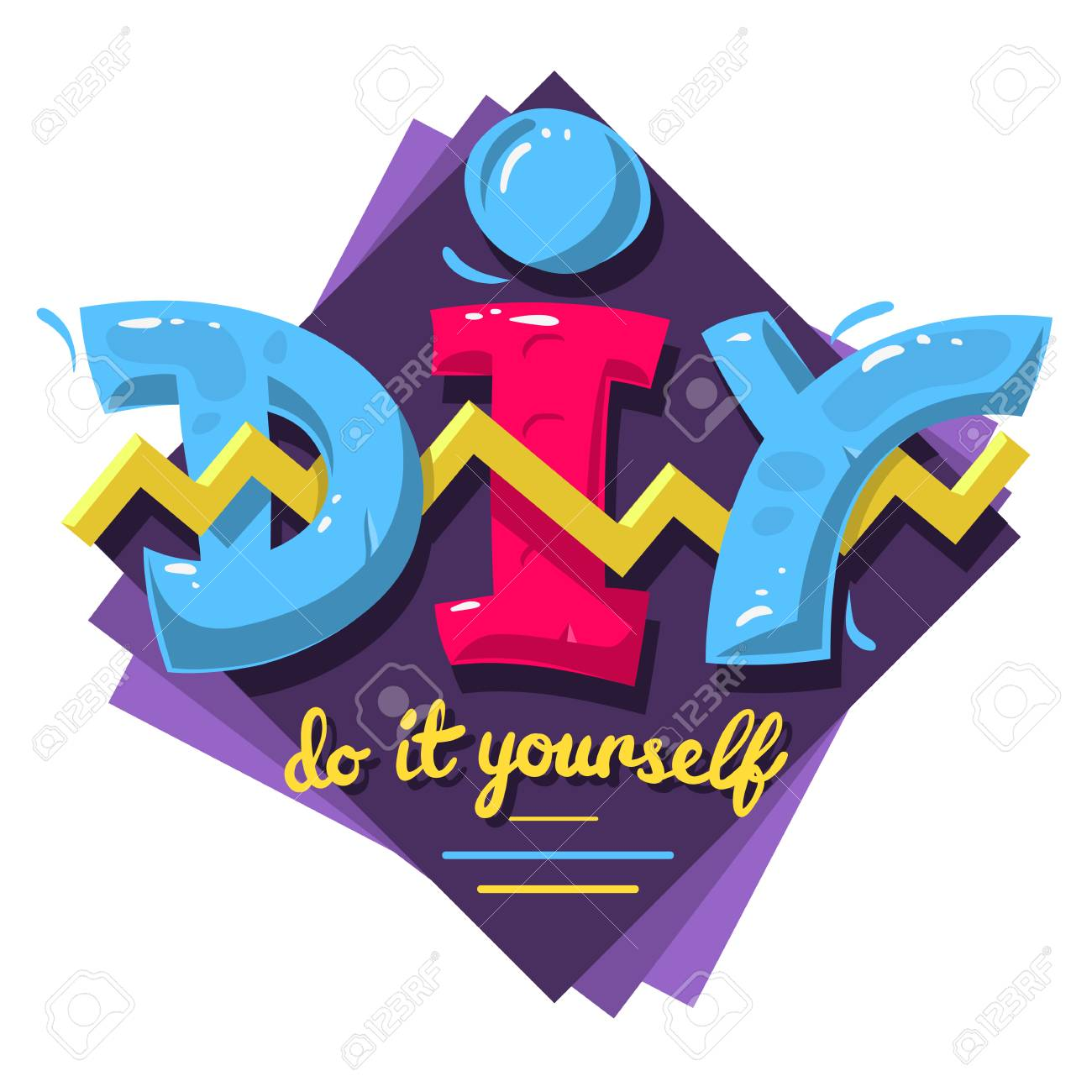 Diy acronym do it yourself 90 s vibrant colors aesthetic typ stock diy acronym do it yourself 90 s vibrant colors aesthetic typ stock photo solutioingenieria Choice Image