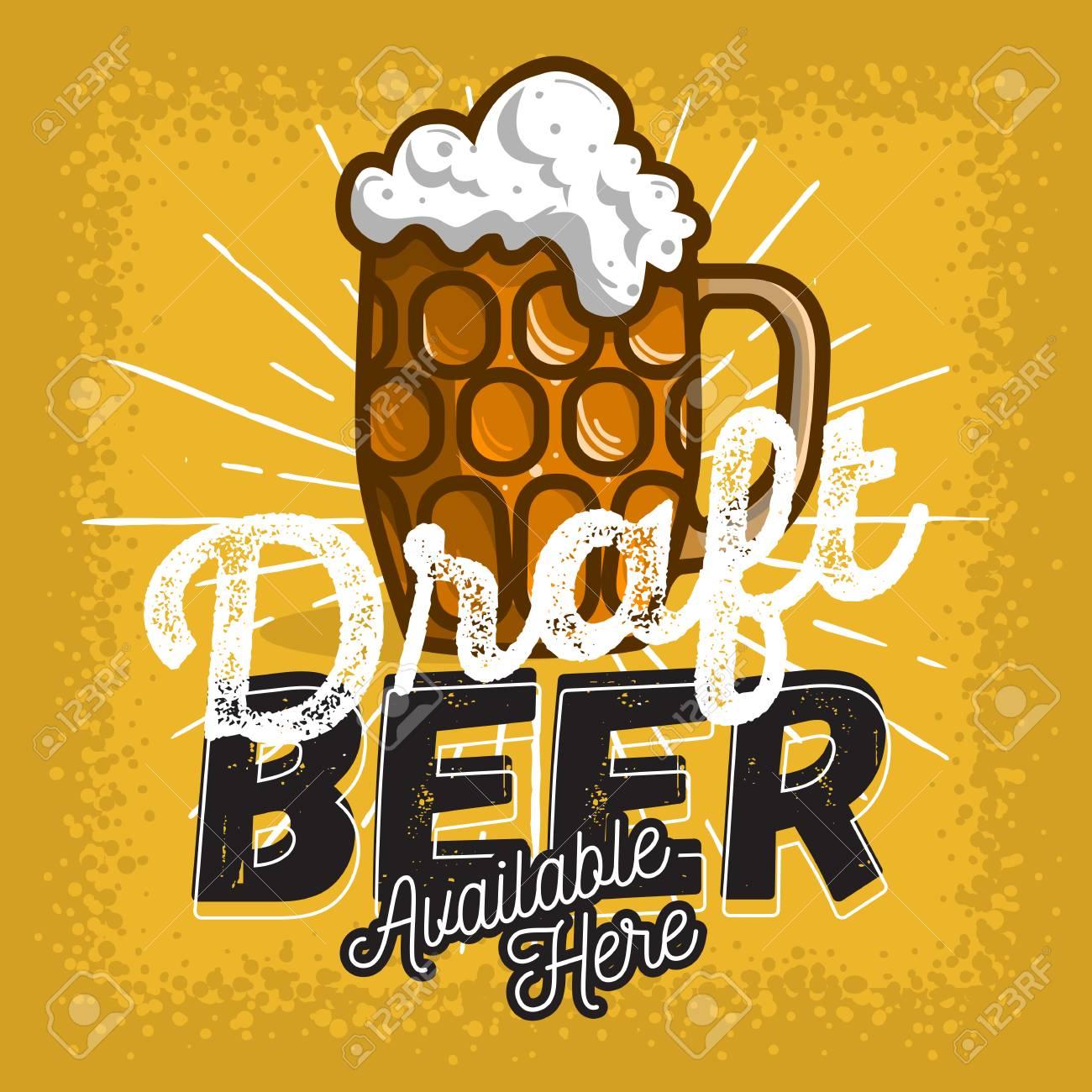 Glass Mug Of Draft Beer With Foam Poster Sign Design For Promotion Vector Image