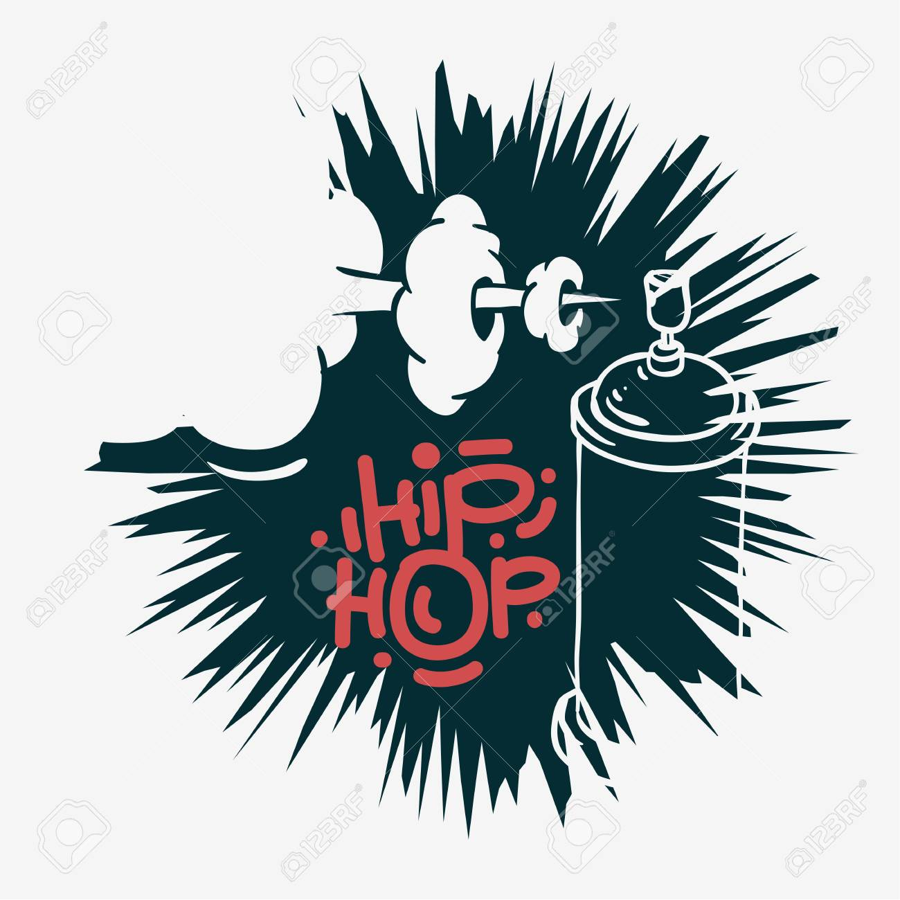 hip hop design with a graffiti spray can baloon artistic cartoon