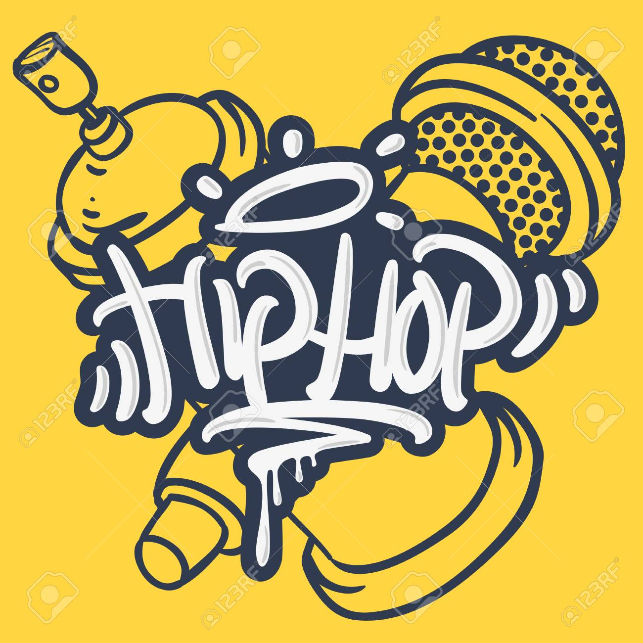 Hip Hop Lettering Custom Tag Style Characters With A Microphone And Graffiti Spray Can Baloon. Artistic Cartoon Hand Drawn Sketchy Line Art Style. - 91715857