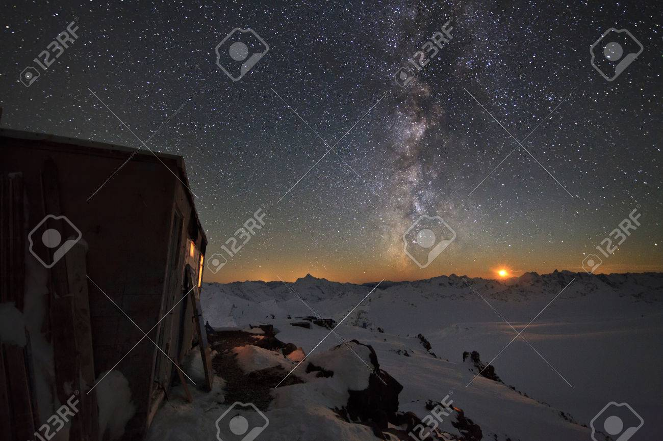 Milky Way and a house in the mountains Stock Photo - 24565355