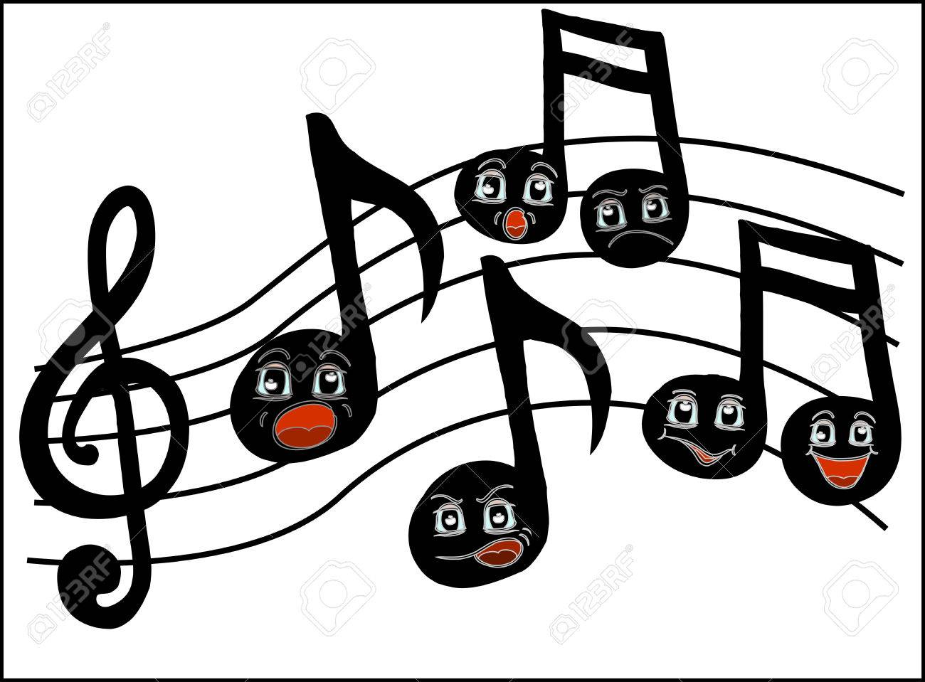 Cartoon Music Notes With Funny Faces Royalty Free Cliparts ...