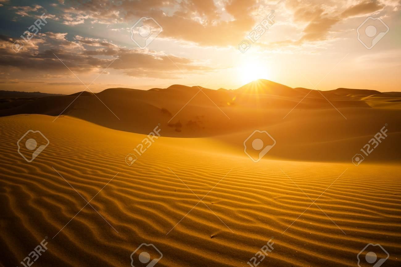 Beautiful sunset in the Sahara desert