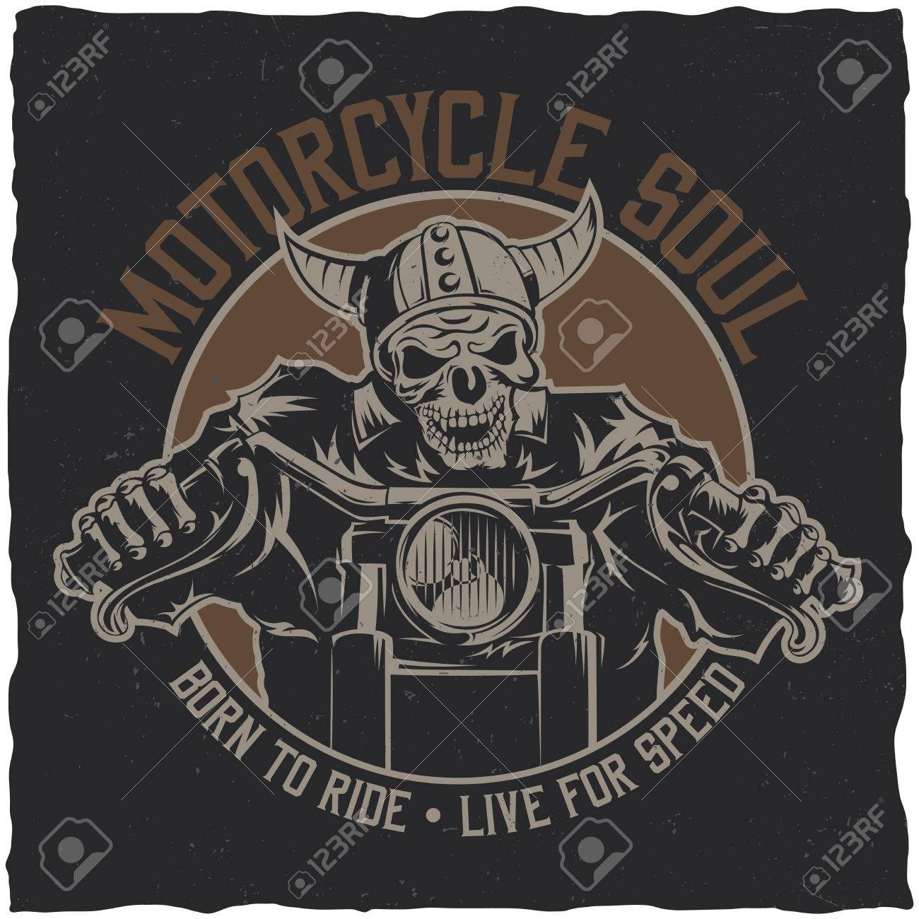 61d95436 Biker t-shirt label design with illustration of skeleton riding on motorbike  Stock Vector -