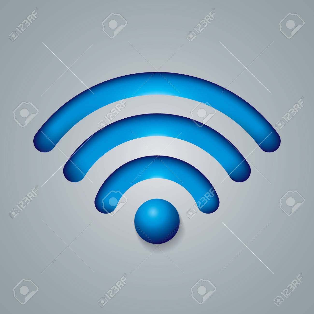 Wireless Network Symbol Object Blue Colored Consisting Of Four