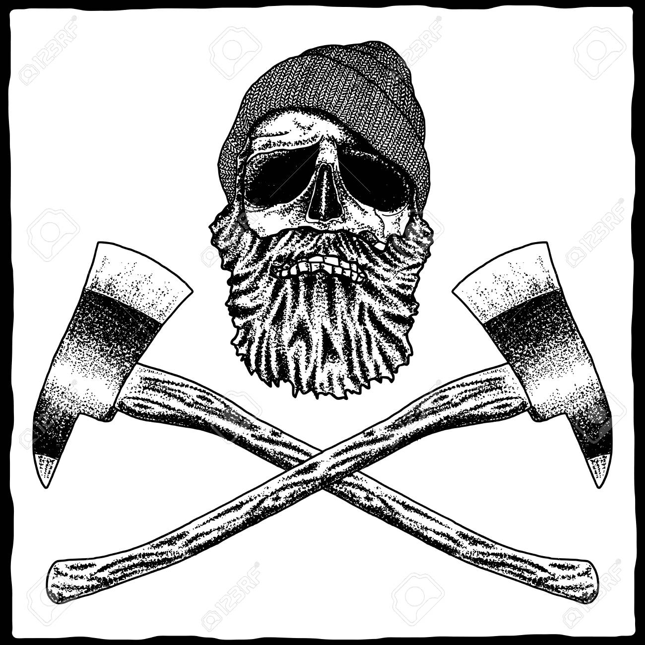 Lumberjack Effective Poster With Skull In Hat And Beard Vector Illustration Stock