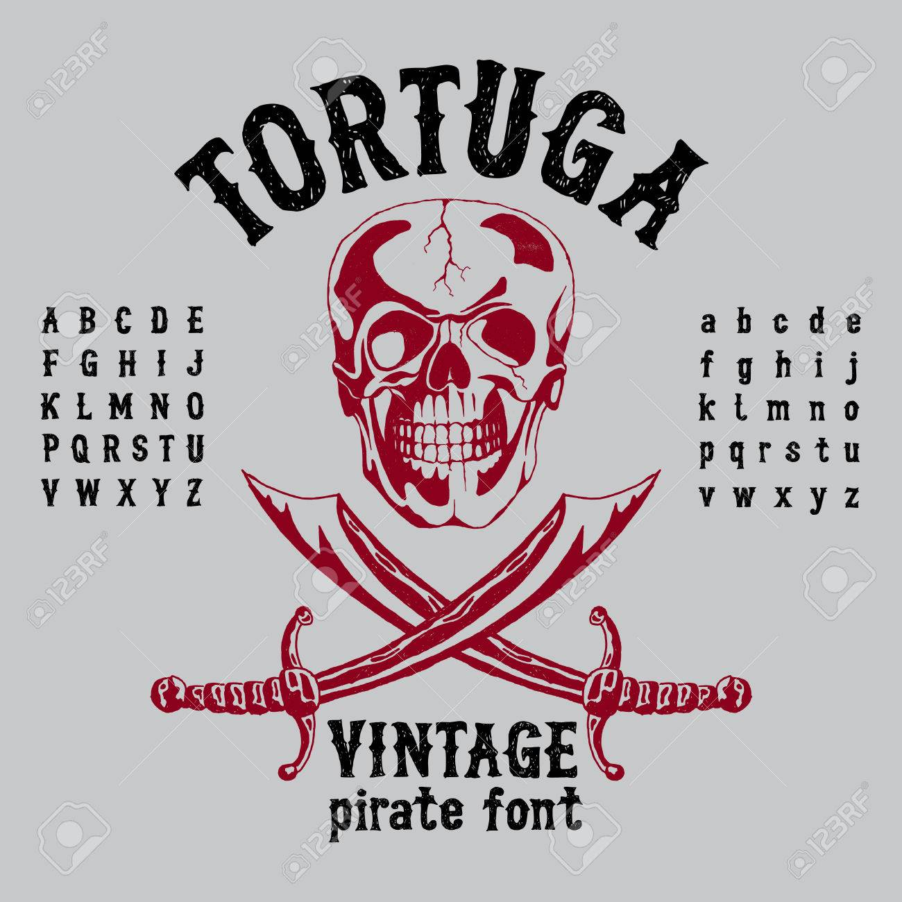 Tortuga Vintage Pirate Font Poster With Angry Skull And Alphabet On Grey Background Vector Illustration Stock