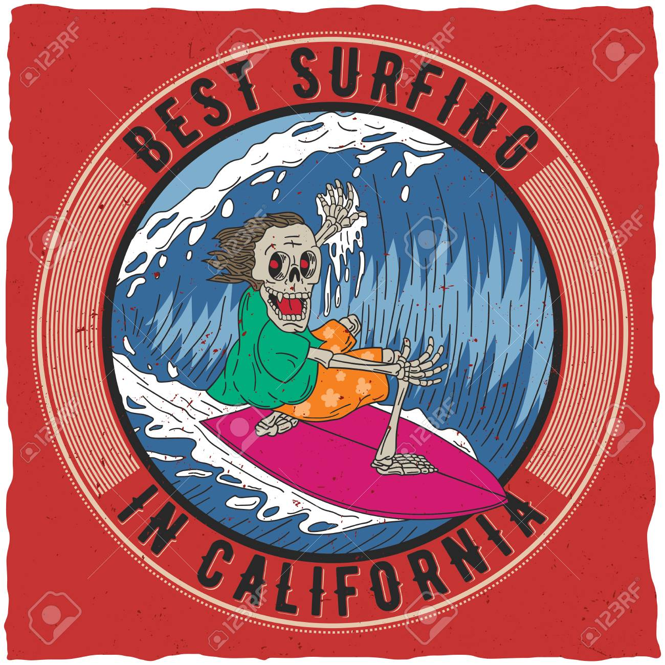 Mejor Surf En Cartel De California Con Esqueleto Divertido A Bordo ...