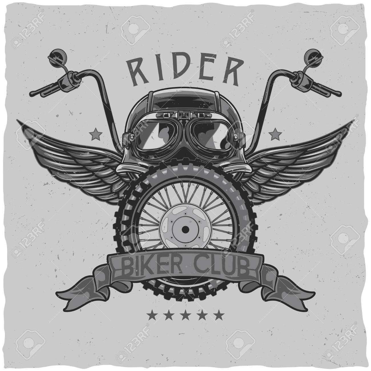 Motorcycle theme t-shirt label design with illustration of helmet, glasses, wheel and wings. - 82521216
