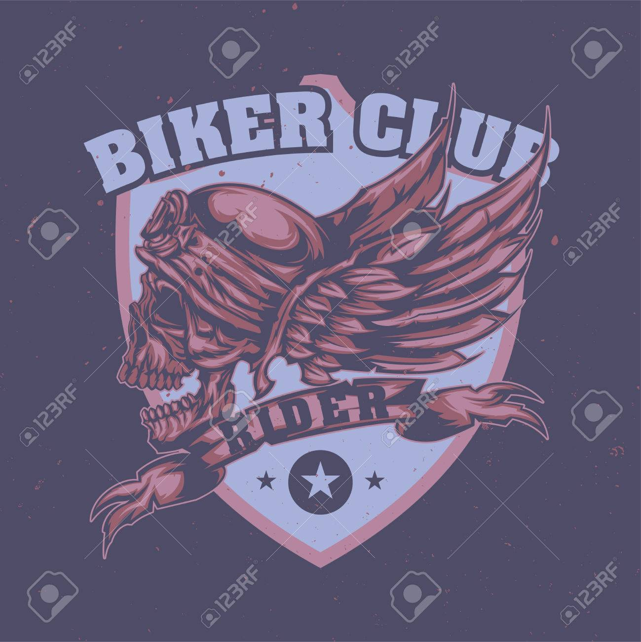T-shirt or poster design with illustration of skull at helmet and wings on the background - 83333763