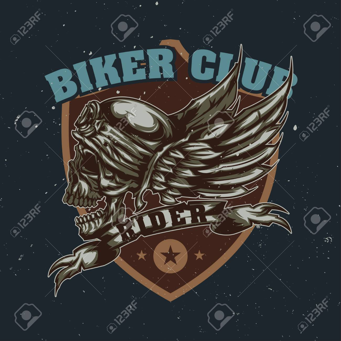 T-shirt or poster design with illustration of skull at helmet and wings on the background - 83369377
