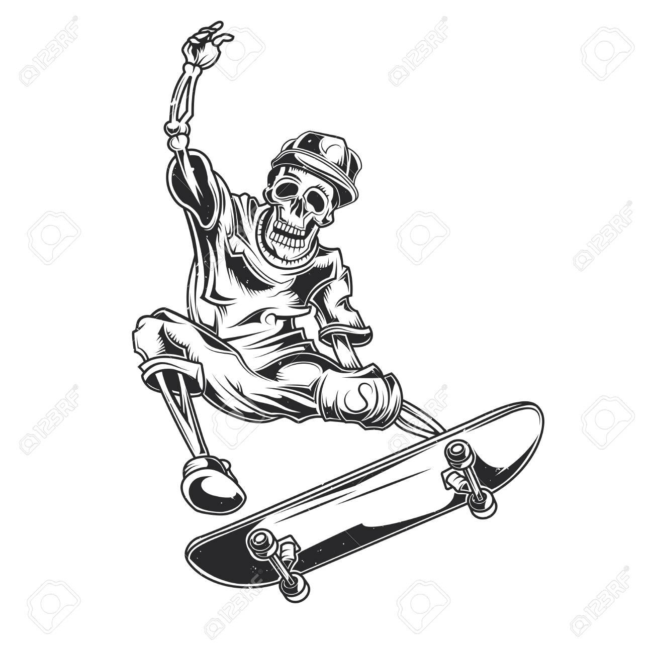 Vector illustration of skeleton on skate board. - 96283389