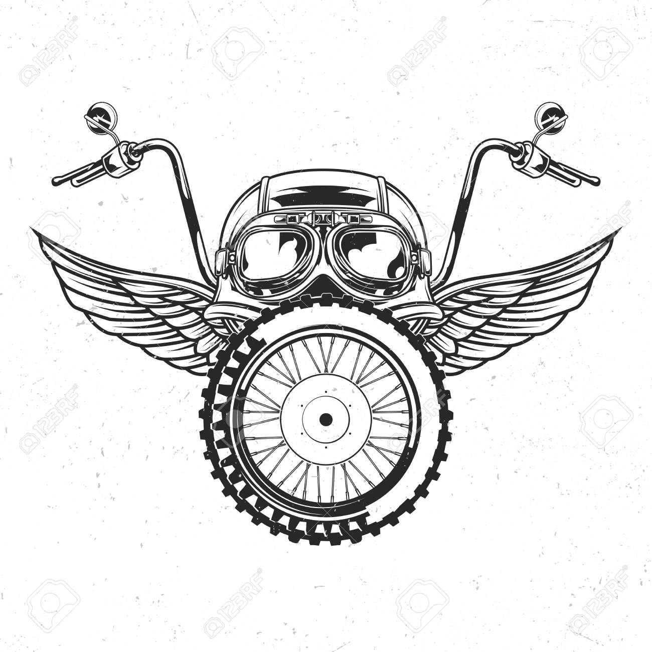 Motorcycle theme isolated emblem with illustration of helmet, glasses, wheel and wings - 104978567