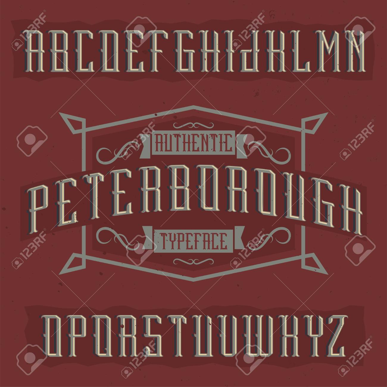 Vintage label typeface named Peterborough. Good font to use in any vintage labels or logo. - 112056441