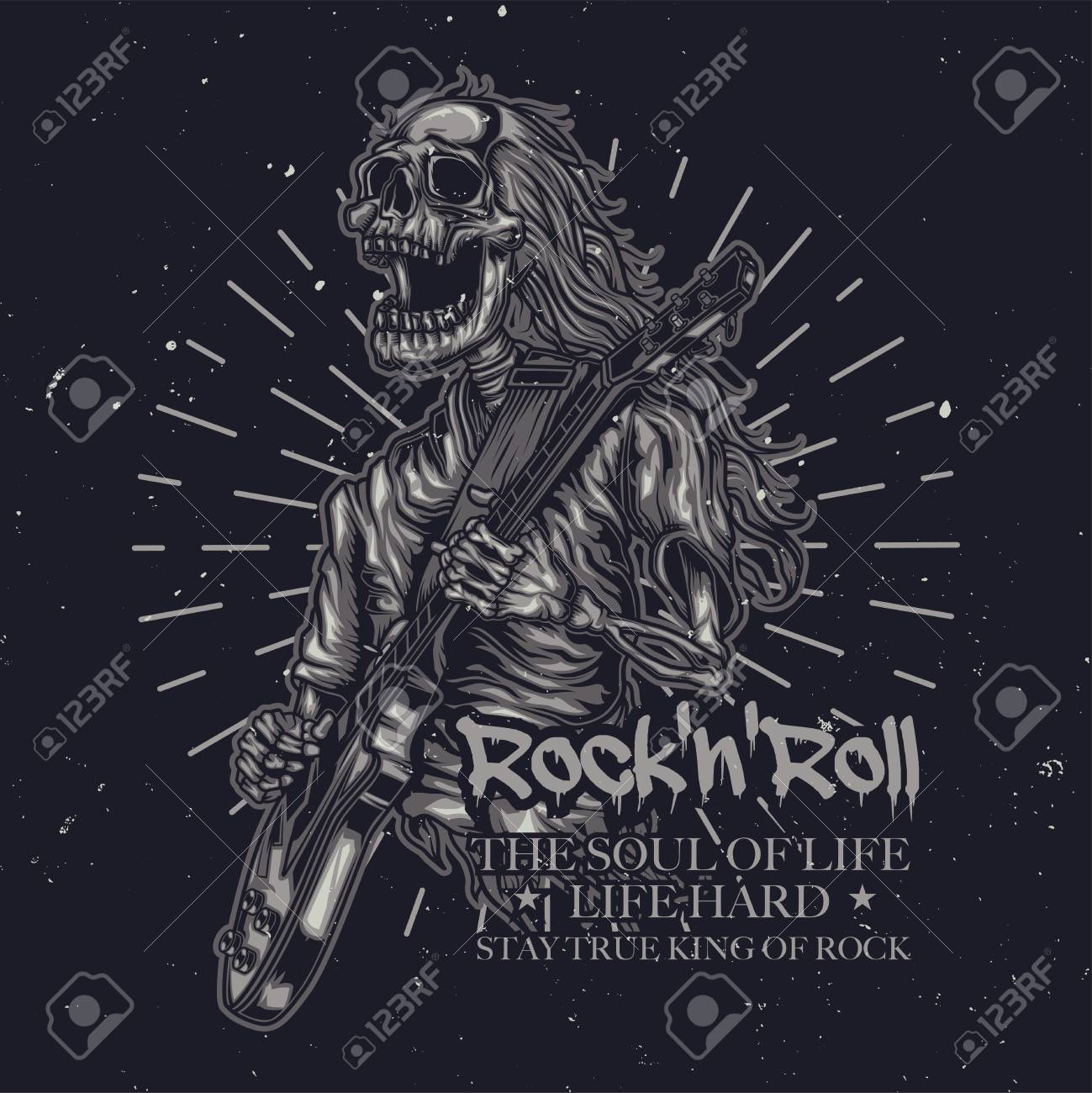 T-shirt or poster design with illustration of skeleton playing guitar - 114217581