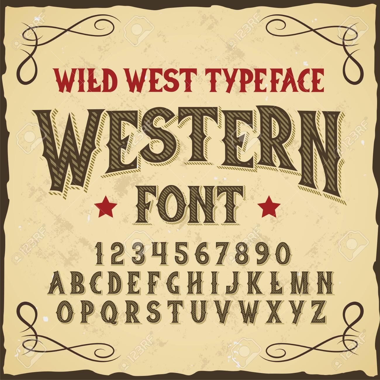 "Original label typeface named ""Western"". Good handcrafted font for any label design. - 128059875"