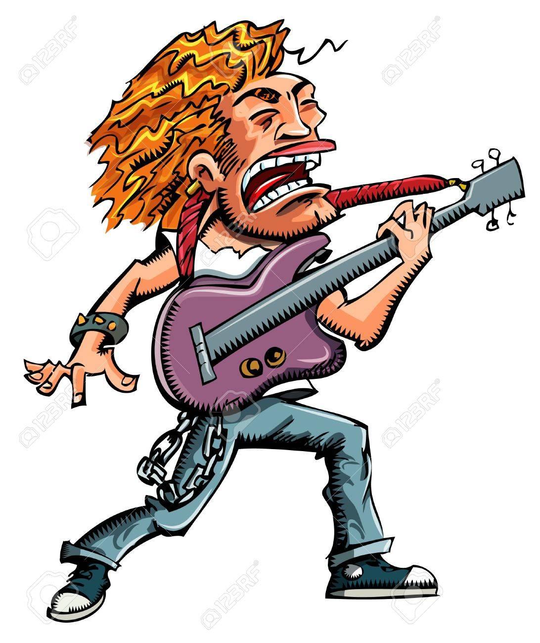 Cartoon of a heavy metal singer witha guitar Stock Vector - 9100624
